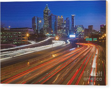 Atlanta Interstate I-85 By Night Wood Print by Inge Johnsson