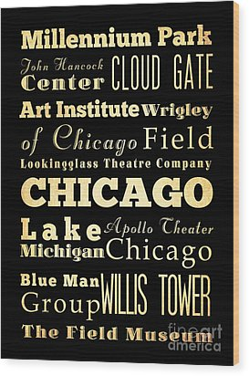 Attractions And Famous Places Of Chicago Illinois Wood Print by Joy House Studio