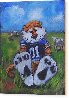 Aubie With The Cows Wood Print by Carole Foret