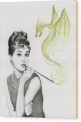 Audrey And Her Magic Dragon Wood Print by Olga Shvartsur