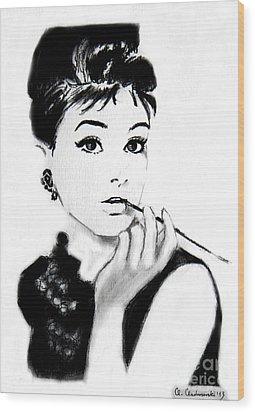 Audrey Hepburn Wood Print by Anna Androsovski