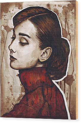 Audrey Hepburn Wood Print by Olga Shvartsur