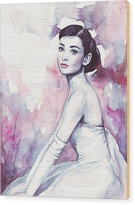 Audrey Hepburn Purple Watercolor Portrait Wood Print by Olga Shvartsur