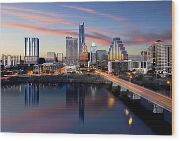 An Image Of The Austin Skyline And Lady Bird Lake From The Hyatt Hotel Wood Print by Rob Greebon