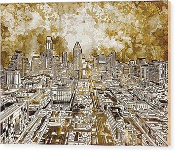Austin Texas Abstract Panorama 6 Wood Print by Bekim Art