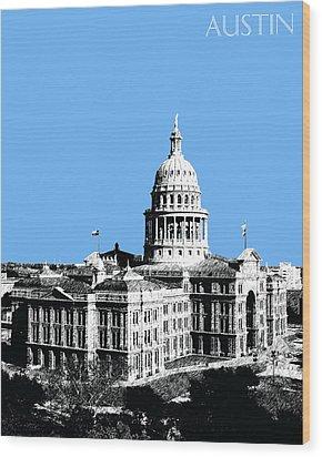 Austin Texas Capital - Sky Blue Wood Print by DB Artist