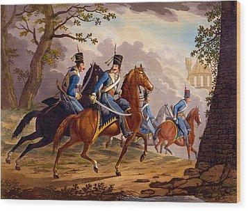 Austrian Hussars In Pursuit Wood Print by Conrad Gessner