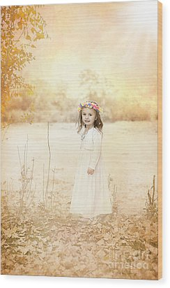 Autumn Angel Wood Print by Cindy Singleton