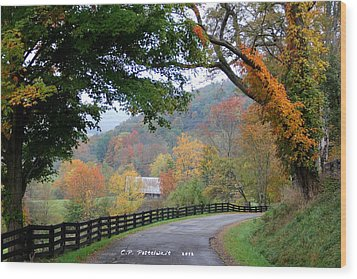 Autumn Beauty Around The Bend Wood Print by Carolyn Postelwait