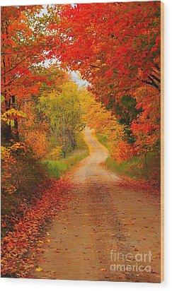 Autumn Cameo Wood Print by Terri Gostola