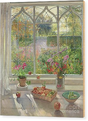 Autumn Fruit And Flowers Wood Print by Timothy  Easton