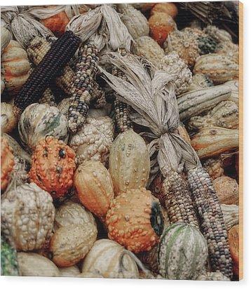 Autumn Gourds 2 Wood Print by Joann Vitali