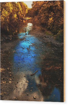 Autumn Reflections On The Tributary Wood Print by Thomas Woolworth