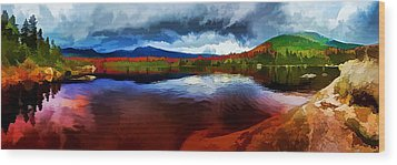 Autumn Storm At Roaring Brook Wood Print by ABeautifulSky Photography