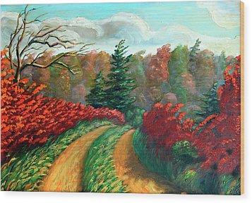 Autumn Trail Wood Print by Hanne Lore Koehler