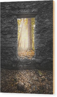 Autumn Within Long Pond Ironworks - Historical Ruins Wood Print by Gary Heller