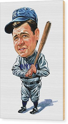 Babe Ruth Wood Print by Art