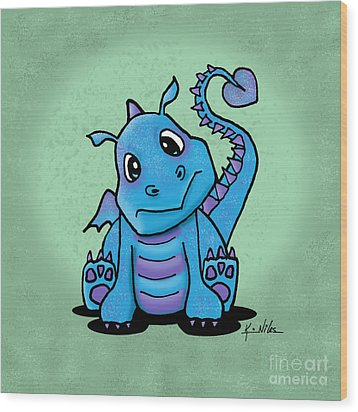 Baby Dragon Wood Print by Kim Niles