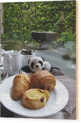 Baby Panda And Croissant Rolls Wood Print by Ausra Huntington nee Paulauskaite