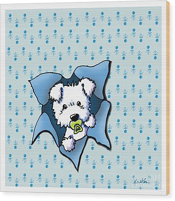 Baby Westie Blast Wood Print by Kim Niles
