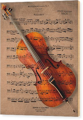 Bach On Cello Wood Print by Sheryl Cox