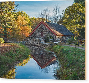Back Of The Grist Mill Wood Print by Michael Blanchette