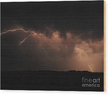 Badlands Lightning Wood Print by Chris  Brewington Photography LLC