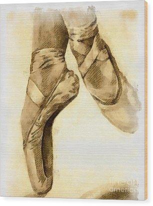 Ballerina Shoes Wood Print by Yanni Theodorou