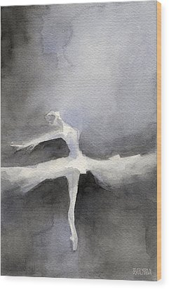 Ballet Dancer In White Tutu Watercolor Paintings Of Dance Wood Print by Beverly Brown