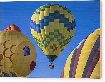 Ballooning Wood Print by Garry Gay
