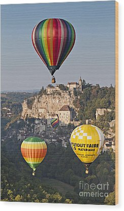 Balloons At Rocamadour Midi Pyrenees France Wood Print by Colin and Linda McKie