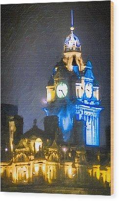 Balmoral Clock Tower On Princes Street In Edinburgh Wood Print by Mark E Tisdale