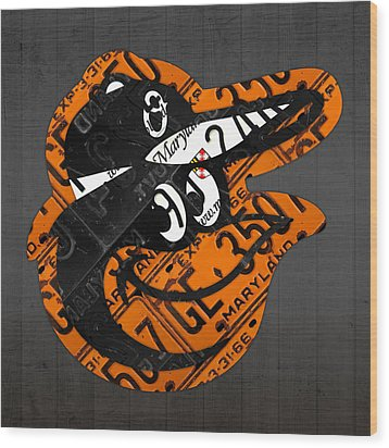 Baltimore Orioles Vintage Baseball Logo License Plate Art Wood Print by Design Turnpike