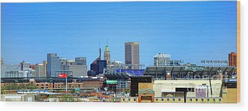 Baltimore Stadiums Wood Print by Olivier Le Queinec