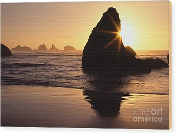 Bandon Golden Moment Wood Print by Inge Johnsson