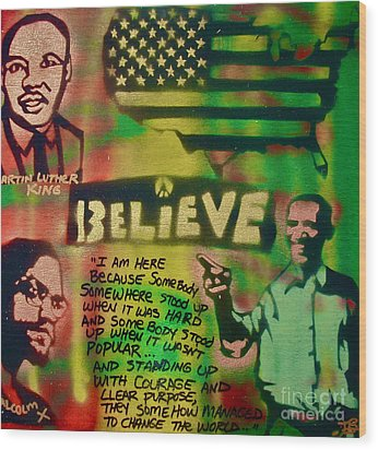 Barack And Martin And Malcolm Wood Print by Tony B Conscious