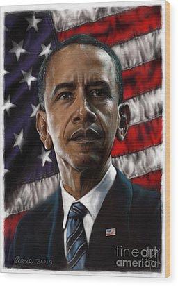 Barack Obama Wood Print by Andre Koekemoer