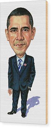 Barack Obama Wood Print by Art