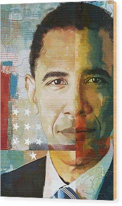 Barack Obama Wood Print by Corporate Art Task Force