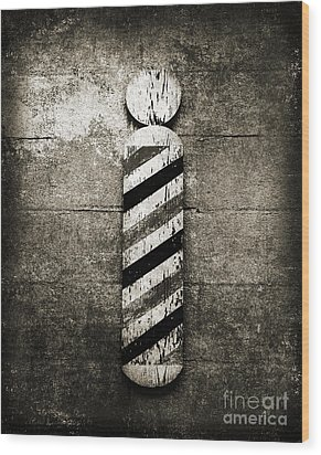 Barber Pole Black And White Wood Print by Andee Design