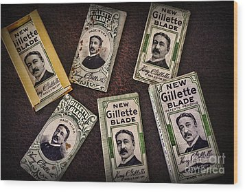 Barber - Vintage Gillette Razor Blades Wood Print by Paul Ward