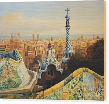 Barcelona Park Guell Wood Print by Kiril Stanchev