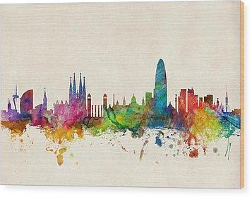 Barcelona Spain Skyline Wood Print by Michael Tompsett