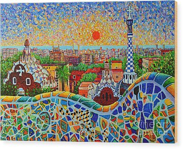 Barcelona View At Sunrise - Park Guell  Of Gaudi Wood Print by Ana Maria Edulescu