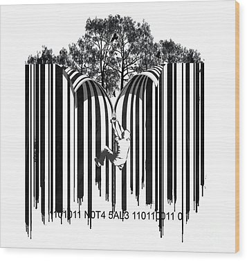 Barcode Graffiti Poster Print Unzip The Code Wood Print by Sassan Filsoof
