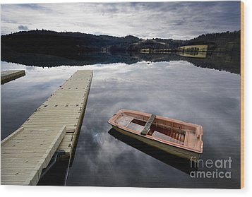 Bark On A Lake In Auvergne. France Wood Print by Bernard Jaubert