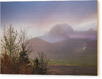 Barns In The Morning Light Wood Print by Debra and Dave Vanderlaan