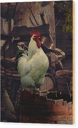 Barnyard Rooster Wood Print by Matthew Schwartz