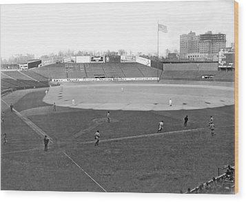 Baseball At Yankee Stadium Wood Print by Underwood Archives
