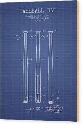 Baseball Bat Patent From 1924 - Blueprint Wood Print by Aged Pixel